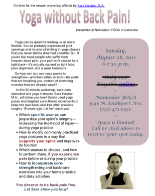 Sara Hauber teaches yoga without back pain in Chicago